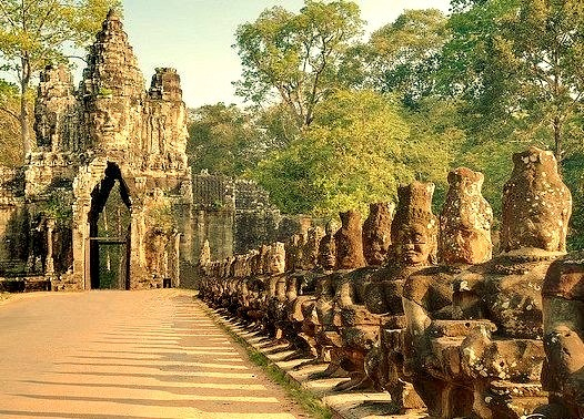 by GlobeTrotter 2000 on Flickr.Bayon Gate Entrance to Angkor Thom, Cambodia.
