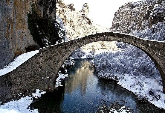 by teo58- on Flickr.Kokkoris old bridge in winter, Epirus, Greece.