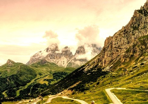 Pordoi Pass at 2239m, the highest surfaced road traversing a pass in the Dolomites, Italy