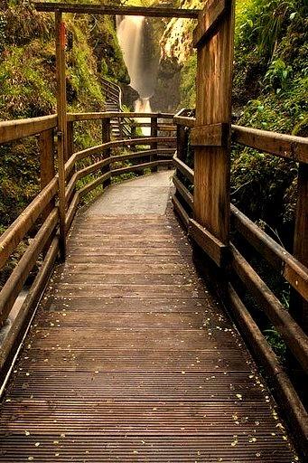 Waterfall walkway at Glenariff Forest Park, Co Antrim, Northern Ireland