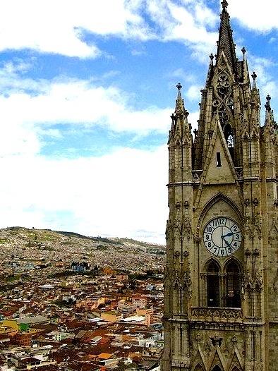 Quito skyline, with basilica in foreground, Ecuador