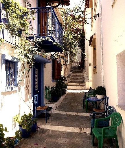 One of the peaceful alleys of Skiathos, Greece