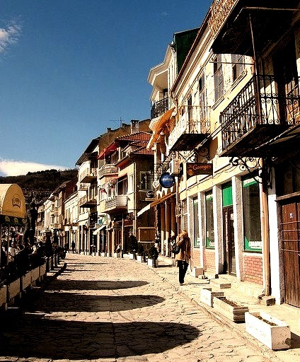 Coffee shops in the old market of Veliko Tarnovo, Bulgaria