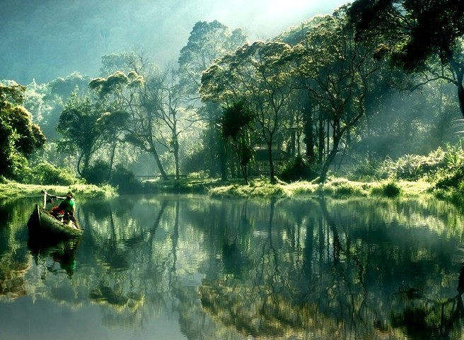 Morning reflections at Situ Gunung Lake, Java, Indonesia.