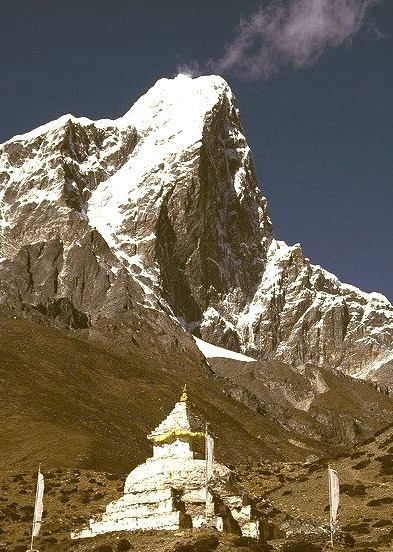 The east face of Taboche Peak, above a buddhist stupa, Nepal