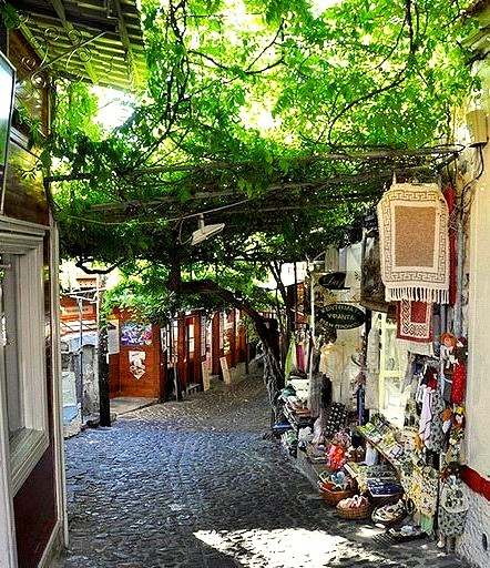 Small shops on the streets of Molyvos, Lesbos Island, Greece