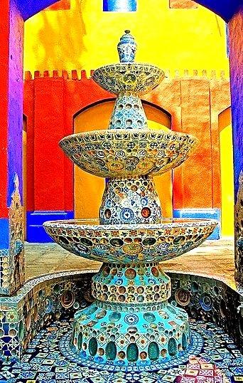 Colorful fountain at Ex-Hacienda de Chautla in Puebla, Mexico