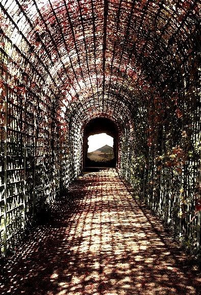 Passage in the gardens of Schwetzingen Castle, Germany