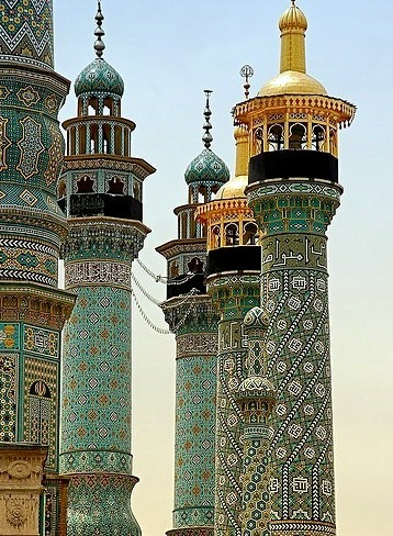 Fatima shrine minarets in Qom / Iran